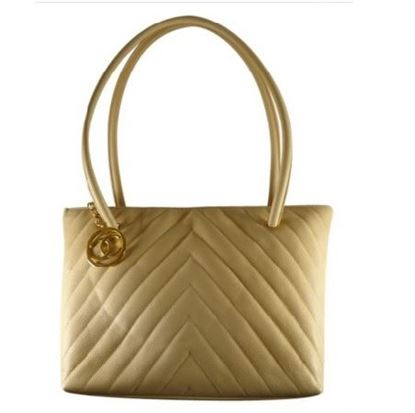 Image of Chanel chevron caviar tote bag