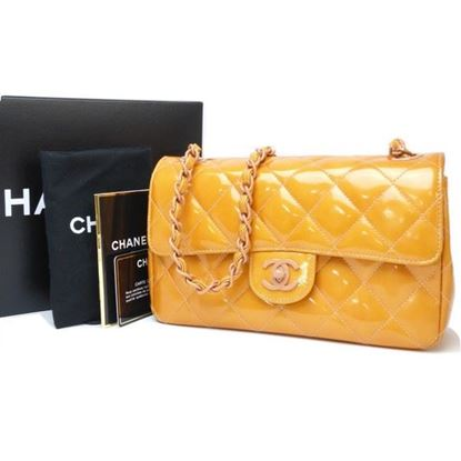 Image of Chanel timeless orange patent leather bag