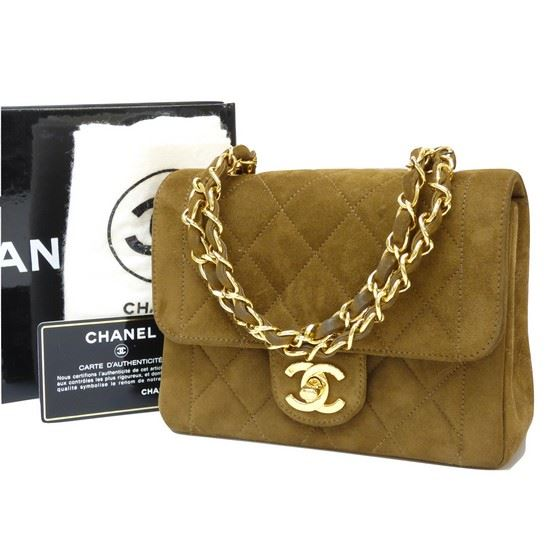Favorite Vintage and Musthaves. Chanel mini brown suede bag PF76