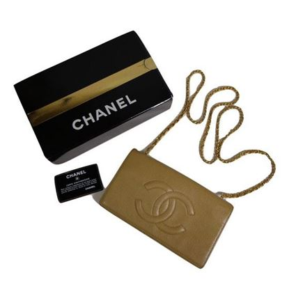 Image of Chanel beige caviar WOC