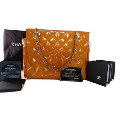 Image of Chanel orange patent leather tote bag