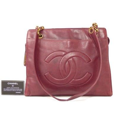 Image of Chanel burgundy red Shopper tote bag