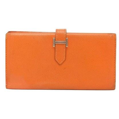 Hermes Bearn classic orange wallet