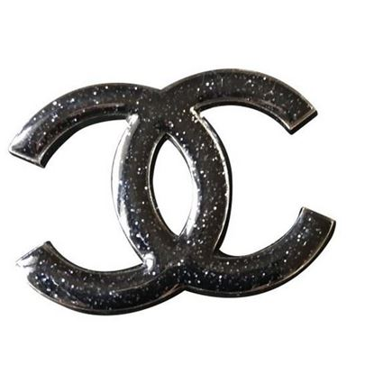 Image of Chanel CC black glitter brooch