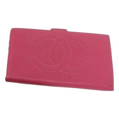 Image of chanel CC pink caviar long bifold wallet