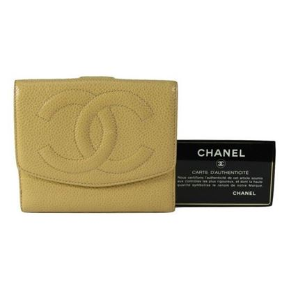Image of Chanel beige caviar cc french bifold wallet