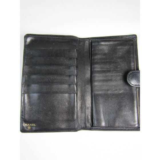 baf33a1b625f Vintage and Musthaves. Chanel CC black caviar long french bifold wallet