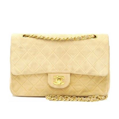 Image of Chanel beige suede 2.55 timeless medium double flap bag