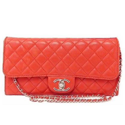 Image of Chanel red woc flapbag with silver hardware