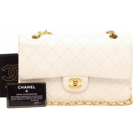 Picture of Chanel white 2.55 timeless medium double flap bag
