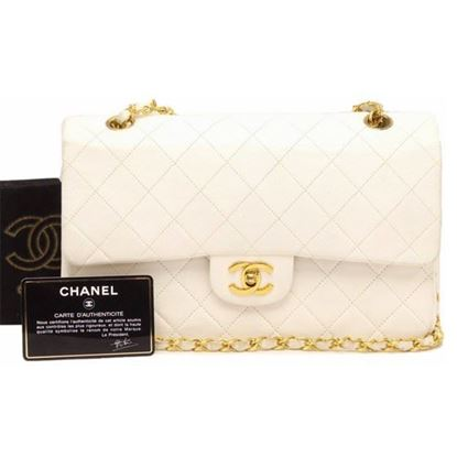 Chanel white 2.55 timeless medium double flap bag