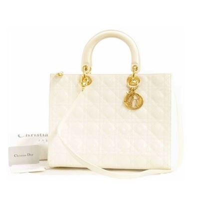 Christian Dior White Patent LADY DIOR Large Cannage Hand Bag