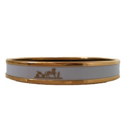 HERMES White Enamel Logos Gold  Narrow Bangle Armband