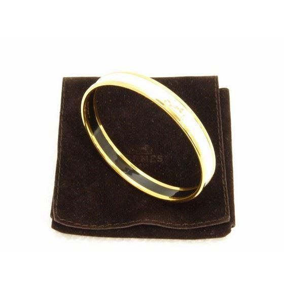 Picture of HERMES White Enamel Logos Gold  Narrow Bangle Armband
