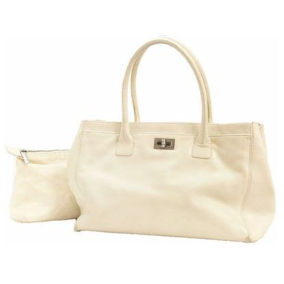 Image of Chanel white cerf executive shopper tote bag