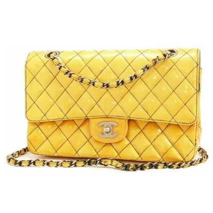 Image of Chanel timeless 2.55 medium yellow patent leather double flap bag