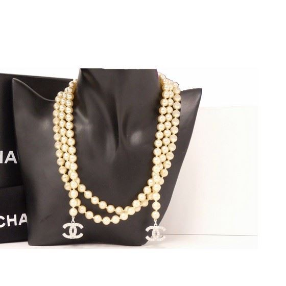 Picture of CHANEL Pearl with Coco Charm Long Lariat Necklace