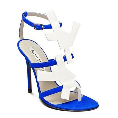 Image of ACNE STUDIOS suede and patent-leather sandal