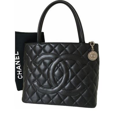 Image of CHANEL Black Caviar Skin CC Charm MEDALLION Tote Hand Bag