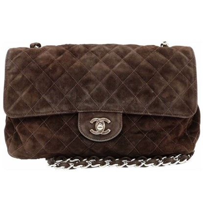 Image of Chanel large timeless 2.55 brown suede bag