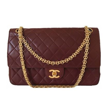 Image of Chanel bordeaux medium 2.55 double flap bag with mademoiselle chain