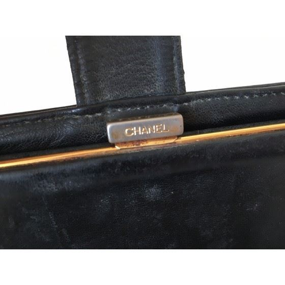 Picture of Chanel CC black caviar long french bifold wallet