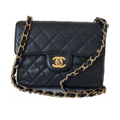 Image of Chanel square caviar leather mini bag