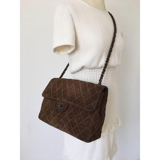 c757bba5fd51 Picture of Chanel jumbo brown suede 2.55 timeless crossbody flap bag