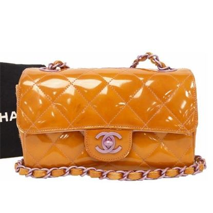 Image of Chanel timeless orange patent leather crossbody bag
