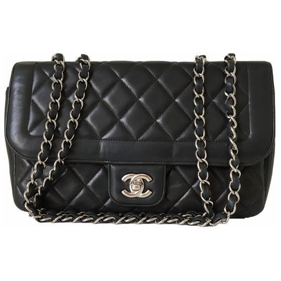 Picture of CHANEL Black Lamb Skin FLAP bag with silver hardware