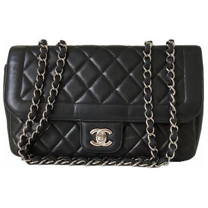 Image of CHANEL Black Lamb Skin FLAP bag with silver hardware