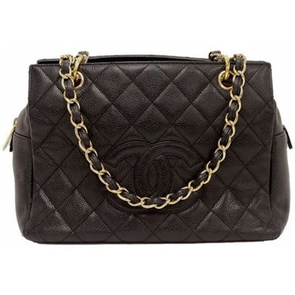 Image of Chanel black caviar skin grand hand bag shopper