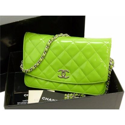Image of Chanel patent green leather crossbody WOC