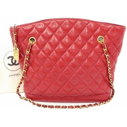 Image of Chanel red ziptop tote shopper bag