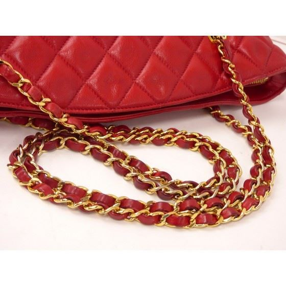 Picture of Chanel red ziptop tote shopper bag