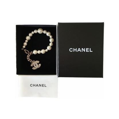 Image of Chanel pearl cc charm bracelet