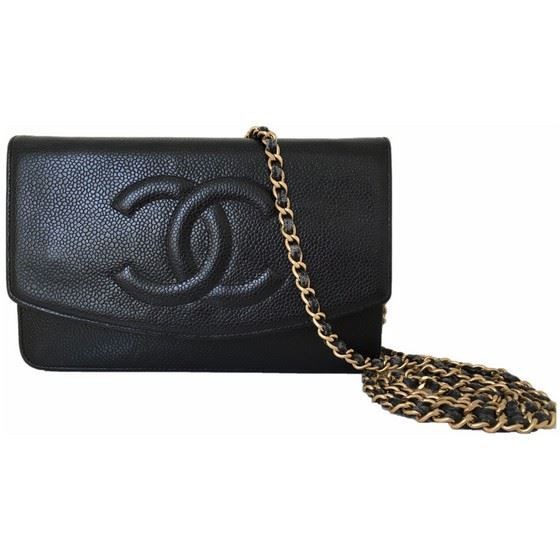 "Picture of Chanel black caviar WOC ""wallet on chain"" bag"