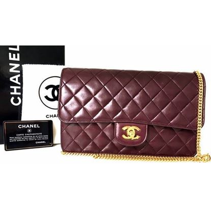 Image of Chanel 2.55 burgundy red classic flap bag