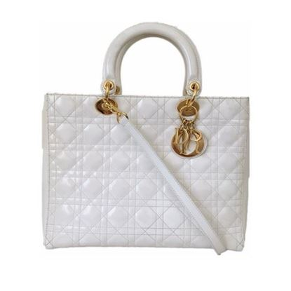 Image of Christian Dior White Patent LADY DIOR Large Cannage Hand Bag