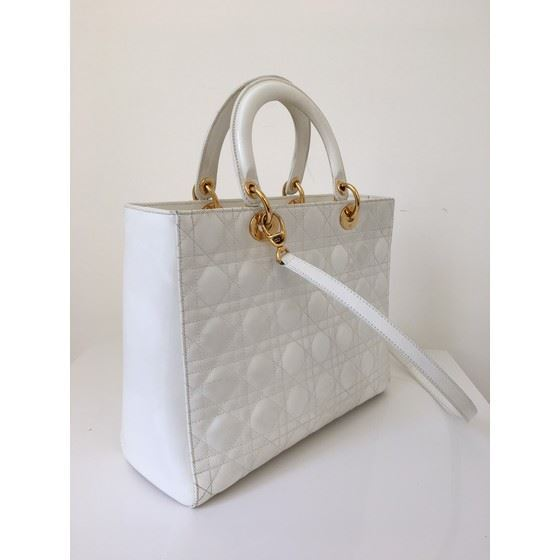 Picture of Christian Dior White Patent LADY DIOR Large Cannage Hand Bag