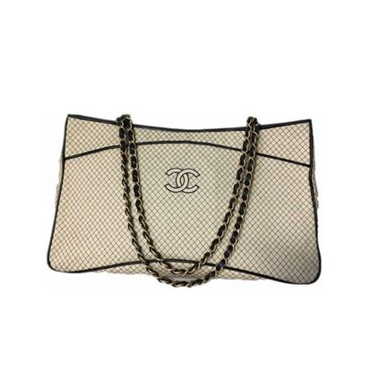 Image of Special piece: Chanel bicolor jersey/lambskin double chain bag