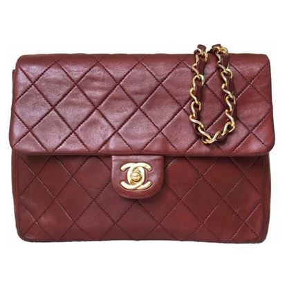 Image of Chanel small timeless 2.55 square bag burgundy