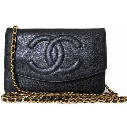 "Image of Chanel black caviar WOC ""wallet on chain"" bag"