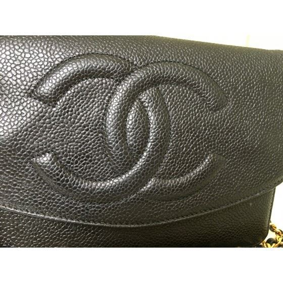 """Picture of Chanel black caviar WOC """"wallet on chain"""" bag"""