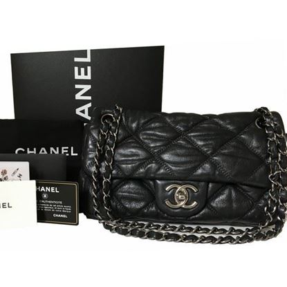 Image of Chanel black bubble Quilted Lambskin Leather Flap Bag