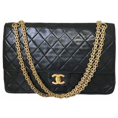Image of Chanel 2.55 medium timeless double flap bag with mademoiselle chain