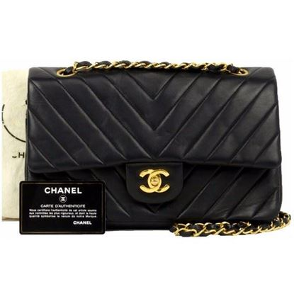 Image of Chanel black lambskin chevron medium double flap bag