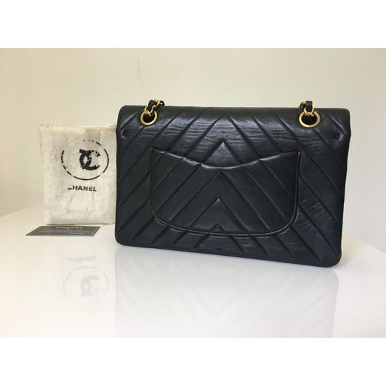 Picture of Chanel black lambskin chevron medium double flap bag