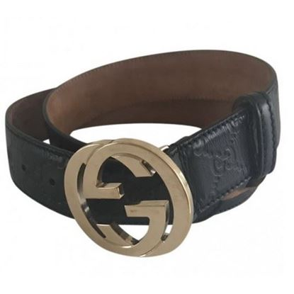 Image of Guccissima leather belt with interlocking G buckle