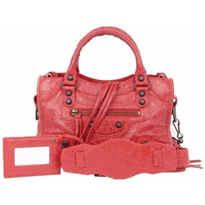 Image of BALENCIAGA Mini City Rouge Cardinal Leather 2 Way Bag